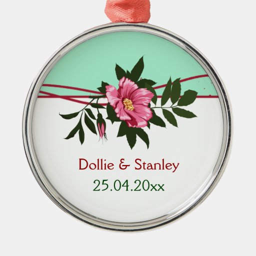Wild pink rose floral wedding mint green keepsake metal ornament