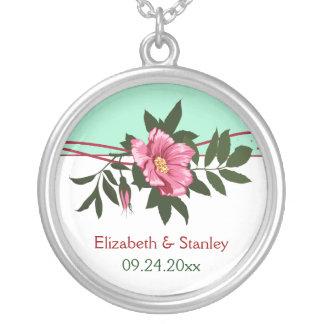 Wild pink rose floral wedding mint green keepsake pendants