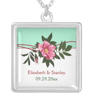 Wild pink rose floral wedding mint green keepsake custom jewelry
