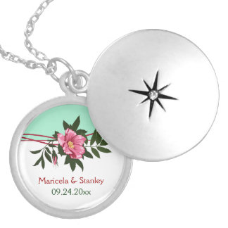 Wild pink rose floral wedding mint green keepsake silver plated necklace