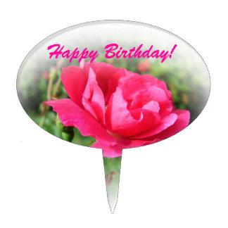 wild pink rose flowers cake topper