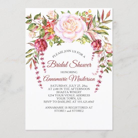 Wild Pink Roses Greenery Bridal Shower Invitation