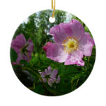 Wild Pink Roses in Alaska Nature Photography Ceramic Ornament