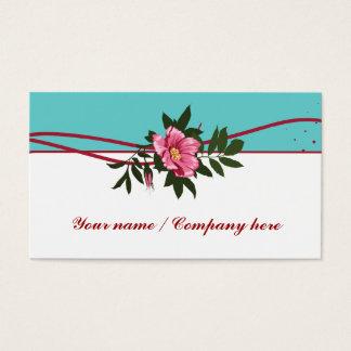 Wild pink teal rose floral business card