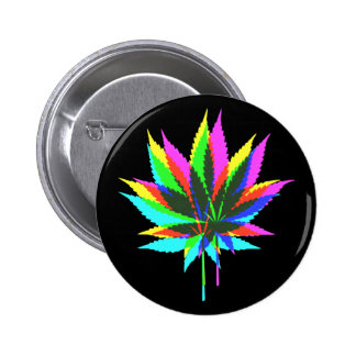Wild Plant Leafs - neon colored + your ideas Button