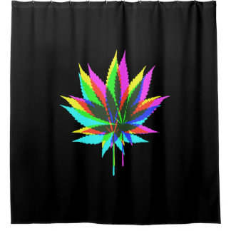 Wild Plant Leafs   Neon Colored + Your Ideas Shower Curtain