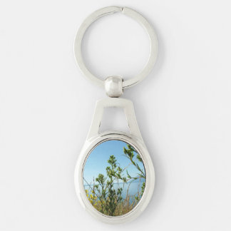 Wild plants and flowers at Grand Teton National Pa Silver-Colored Oval Metal Keychain