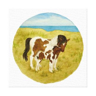 Wild Ponies Watercolor Canvas Print