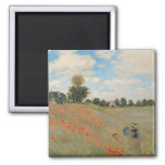 Wild Poppies, near Argenteuil 2 Inch Square Magnet