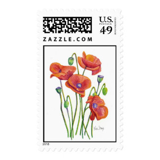 Wild Poppies Postage Stamps
