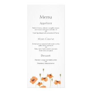 Wild poppy flower vintage wedding menu
