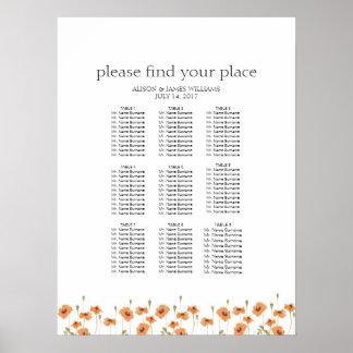 Wild poppy wedding dinner seating chart
