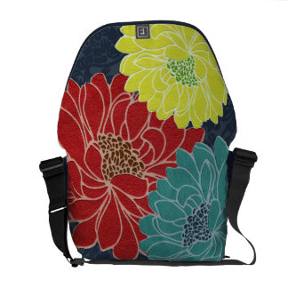 Wild Primary Color Flowers on Navy Damask Style Messenger Bag