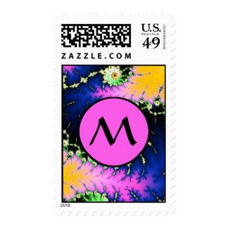 Wild Psychedelic Fractal Spiral - pink monogram Postage