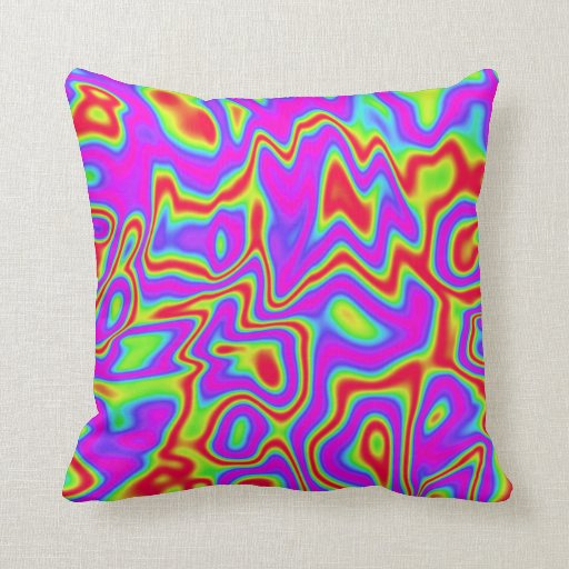 Throw Pillows Primary Colors : Wild Psychedelic Liquid Colors Throw Pillows Zazzle
