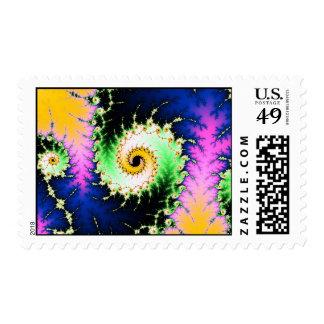 Wild Psychedelic Spiral - colorful fractal design Stamp