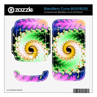 Wild Psychedelic Spiral - colorful fractal design BlackBerry Curve Decals