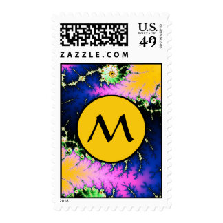Wild Psychedelic Spiral - fractal with monogram Stamps