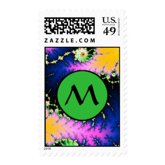 Wild Psychedelic Spiral With Green Monogram Postage Stamp