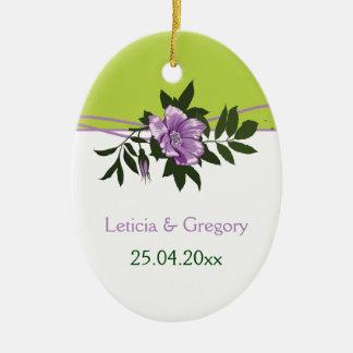 Wild purpl rose floral wedding green keepsake ceramic ornament
