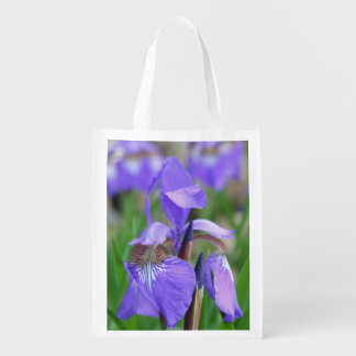 Wild Purple Blue Flag Iris Flower Reusable Grocery Bags