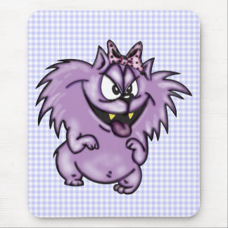 Wild Purple Cartoon Cat Mouse Pad