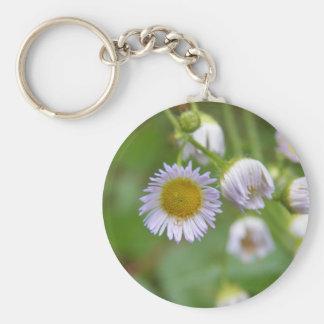 Wild Purple Daisy Basic Round Button Keychain