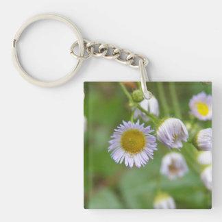 Wild Purple Daisy Single-Sided Square Acrylic Keychain