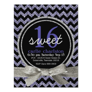 Wild Purple Glitter Look Chevron Sweet 16 Party Card