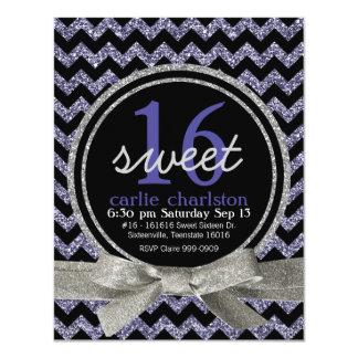 Wild Purple Glitter Look Chevron Sweet 16 Party Card