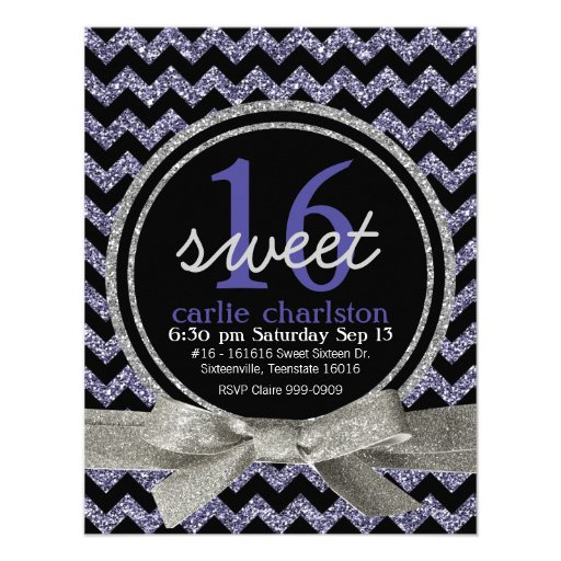 Wild Purple Glitter Look Chevron Sweet 16 Party Invitation