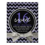 "Wild Purple Glitter Look Chevron Sweet 16 Party 4.25"" X 5.5"" Invitation Card"