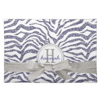 Wild Purple Glitter Look Zebra Monogrammed Cloth Placemat