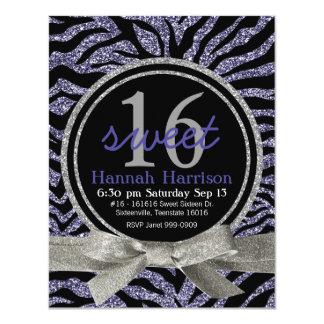 Wild Purple Glitter Look Zebra Sweet 16 Party Card