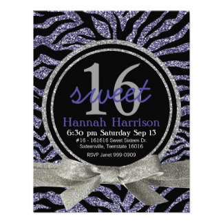 Wild Purple Glitter Look Zebra Sweet 16 Party Personalized Announcements