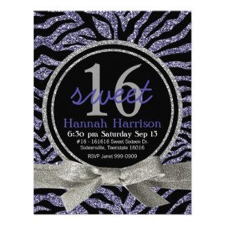 Wild Purple Glitter Look Zebra Sweet 16 Party Personalized Announcements