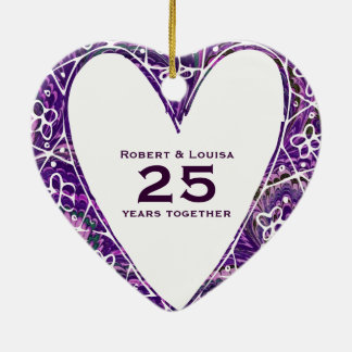 Wild Purple Heart Love Poem Anniversary Gift Ceramic Ornament