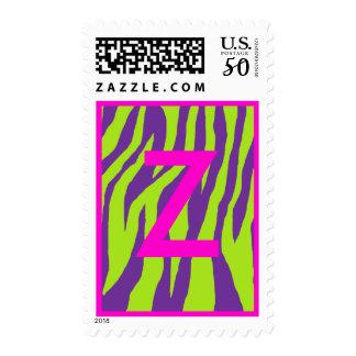 Wild Purple & Lime Zebra Postage