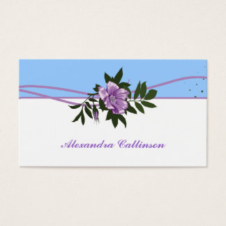 Wild purple rose blue, white floral business card