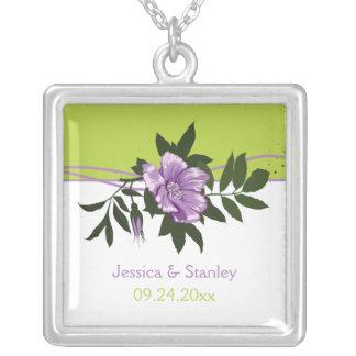 Wild purple rose floral wedding green keepsake necklace