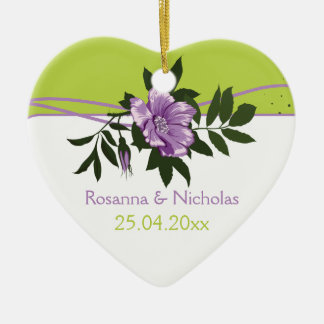 Wild purple rose floral wedding green keepsake Double-Sided heart ceramic christmas ornament