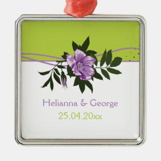 Wild purple rose floral wedding green keepsake square metal christmas ornament