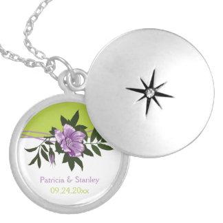 Wild purple rose floral wedding green keepsake silver plated necklace