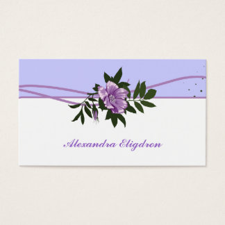 Wild purple rose lavender, white floral business card