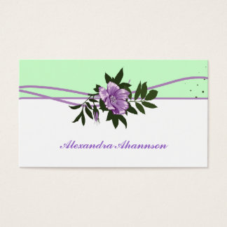 Wild purple rose mint green, white floral business card