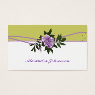 Wild purple rose olive green, white floral business card