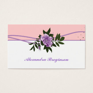 Wild purple rose pink, white floral business card