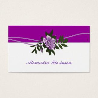 Wild purple rose purpl, white floral business card