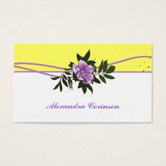 Wild purple rose yellow white floral business card