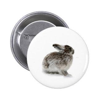 Wild Rabbit in the snow 2 Inch Round Button